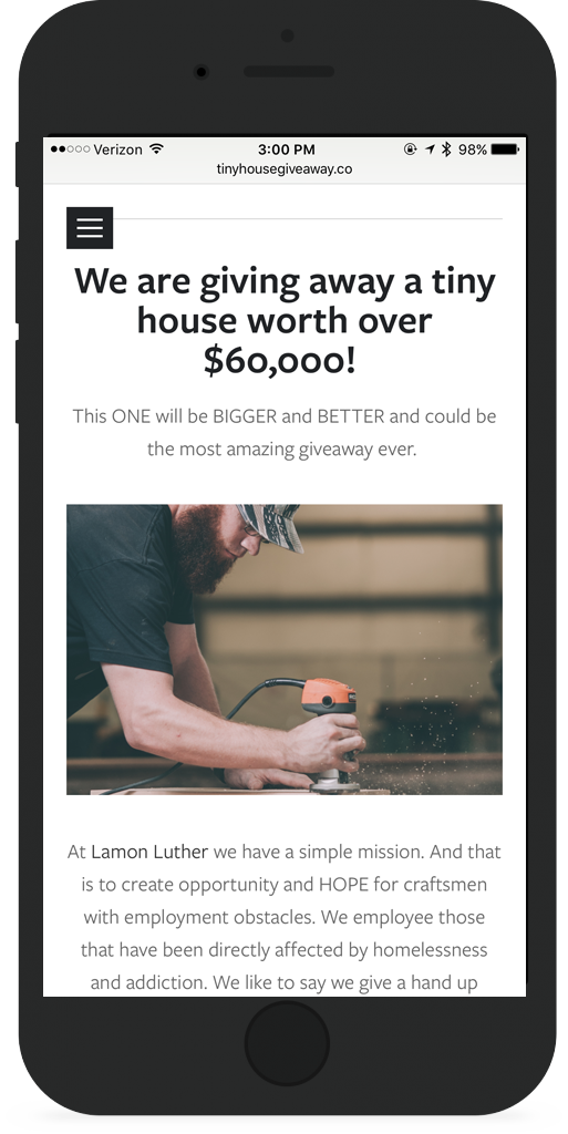 Homepage Phone with Tiny House Giveaway Image