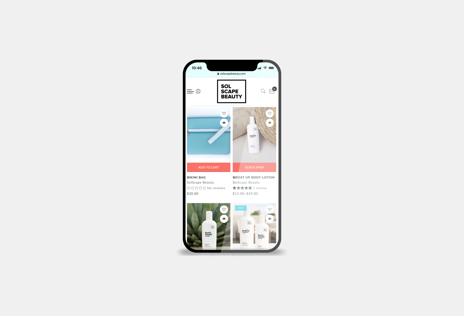 SolScape Beauty Mobile Website Image